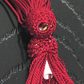 数珠用 頭付き房(人絹)赤 軸穴