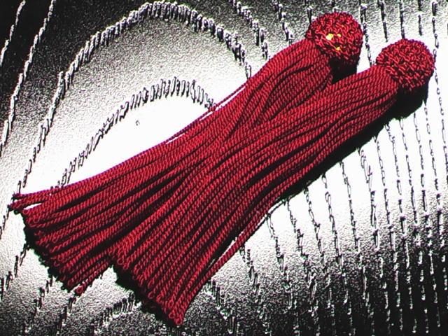 数珠用 頭付き房(人絹)赤紫