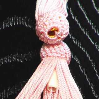 数珠用 頭付き房(人絹)桃 軸穴