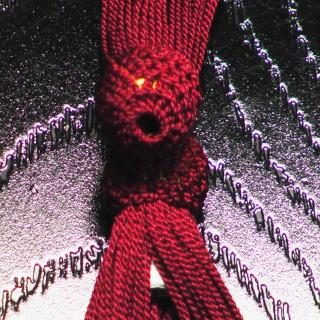 数珠用 頭付き房(正絹)赤紫 軸穴