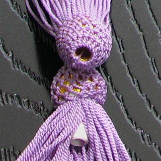 数珠用 頭付き房(正絹)藤 軸穴