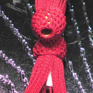 数珠用 頭付き房(正絹)赤 軸穴